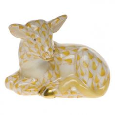 Herend Hand Painted Porcelain Figurine Miniature Calf Butterscotch Fishnet Gold Accents.