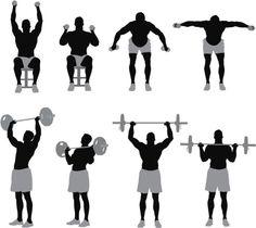 Vectores libres de derechos: Man exercising with weights