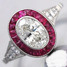 Art Deco Ring 2.38ct Oval Diamond & Rubies Engagement Halo 18kt White Gold Blueriver47 Etsy Fine Jewelry Anniversary ring