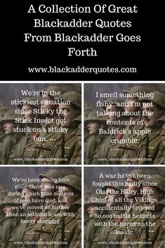 A collection of great Blackadder quotes from Blackadder Goes Forth. For more funny Blackadder quotes, check out the full article. Mr Bean Quotes, Tv Quotes, British Tv Comedies, British Comedy, Blackadder Quotes, Funny Images, Funny Pictures, Only Fools And Horses, Funny Jokes