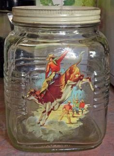 Mid Century Cowboy Bucking Bronco Glass Coffee Jar with Tin Lid