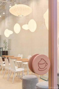 Home Decorators Collection Lighting Cake Shop Design, Coffee Shop Design, Store Design, Dark Interiors, Shop Interiors, Pink Cafe, Restaurant Interior Design, Modern Restaurant, Retail Design