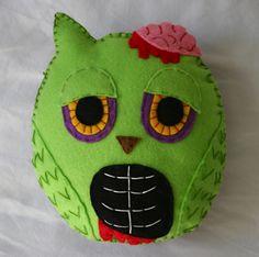 Zombie Owl Plushie.  Handmade with Felt.