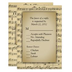 Sheet Music Theme RSVP Cards with Menu Choices - invitations custom unique diy personalize occasions