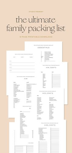 The Ultimate Family Packing List 9-Page PDF Printable | Etsy Packing Checklist, Family Kids, World Traveler, Vacation Trips, Marketing And Advertising, Baby Kids, Pdf, Printables, Etsy