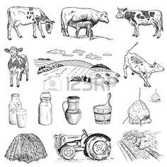 Mleko krowie i ręcznie rysunek szkice zestaw wektora Ilustracja