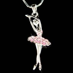 Pink Swarovski Crystal BALLERINA Ballet Dance Girl by Kashuen