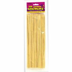 "Bamboo Skewers 100 count by UNIQUE INDUSTRIES, INC. *. $8.11. SEALED IN A PACKAGE. SMOOTH ON ONE END AND A SHARP POINT ON THE OTHER. OVER 11"" LONG. USE FOR BBQ, FOOD OR WITH A CHOCOLATE FOUNTAIN. These 12in bamboo skewers are great for serving or grilling. Just thread food on the skewer and arrange on a platter or soak the bamboo skewers in cold water and use as a base to grill food. 100 count."