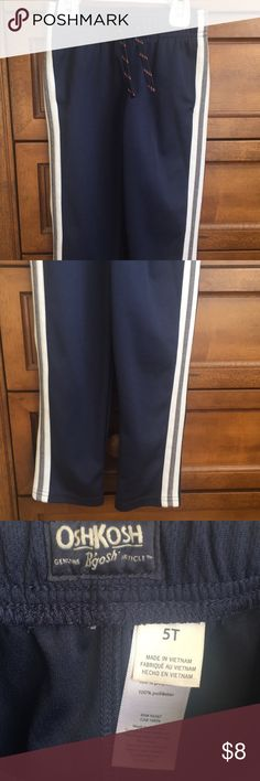 Jogging pants 100% polyester navy blue with gray and white pinstripes. Straight leg running pants. Great condition Osh Kosh Bottoms Sweatpants & Joggers