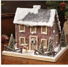 Colonial Saltbox Primitive Lighted Putz Red Christmas House Paper Mache