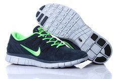 Unisex Nike Free 5.0 V2 Suede Darkblue Green - Click Image to Close