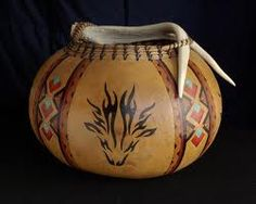 Gourd Art Native Art, Native American Art, Stacked Bobs, Gourd Crafts, Gourds Birdhouse, Hand Painted Gourds, Pine Needle Baskets, Leather Dye, Gourd Art