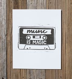 Music Is Magic Cassette Art Print by Rebel Road Company on Scoutmob Shoppe