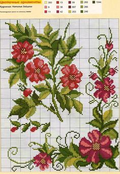 This Pin was discovered by vus Cross Stitch Borders, Cross Stitch Flowers, Cross Stitch Charts, Cross Stitch Designs, Cross Stitching, Cross Stitch Patterns, Ribbon Embroidery, Cross Stitch Embroidery, Embroidery Patterns