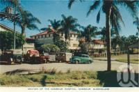 """<span class=""""caption-caption"""">Nambour hospital, Nambour</span>, c1958. <br />Postcard folder by <span class=""""caption-publisher"""">Sydney G Hughes Pty Ltd</span>, collection of <span class=""""caption-contributor"""">Centre for the Government of Queensland</span>."""