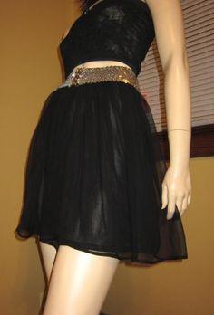 80s Gothic Lolita Sheer Black Chiffon Overlay Mini Skirt MINT NWT S.  ~GET IT NOW! At KoolcatVintage