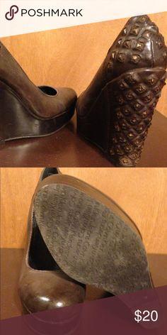 Brown wedge heels Hillary brown wedge heels with stud heel. Worn once. Calvin Klein Shoes Wedges