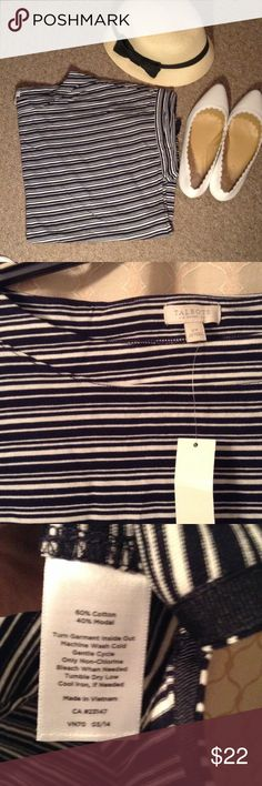 Talbots Striped Tee Great quality tee from Talbot's! Sleeves are rolled over. Open to reasonable offers! Talbots Tops Tees - Short Sleeve