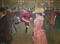 This is kind of fun for the holidays via The Daily Mail.  Photographer Ed Wheeler has been digitally inserting self-portraits of himself as Santa into famous works of art.  This painting is by Toulouse-Lautrec's 1890 painting of the Moulin Rouge.