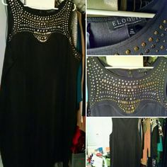 "NWOT Studded Black Shell Dress This Eloquii Studio dress is beautiful! The high neckline did not look right on me, NWOT, never worn out. Studded design in silver and gold. Sleeveless, zipper back. 41"" from shoulder to hem, 96% polyester, 4% spandex. Eloquii Dresses Midi"