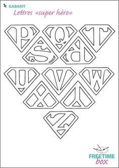 Lettres_super_hero_P_Z. Silhouette Portrait, Silhouette Cameo, Abc Letra, Scan And Cut, Couture Sewing, Scroll Saw Patterns, Superhero Party, Letters And Numbers, Monogram