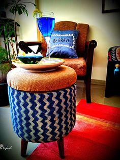 Upholstered ottomans and other furniture in gorgeous Indian fabrics: Sihasn Decorating Blogs, Interior Decorating, Best Interior Design Blogs, Indian Fabric, Upholstered Ottoman, Handmade Shop, Fabrics, Minimalist, Ottomans
