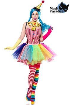 61bcef785ece22 Clown Girl bunt von Mask Paradise, der Body ist mit eingearbeiteten Cups  und dekorativen Knöpfen