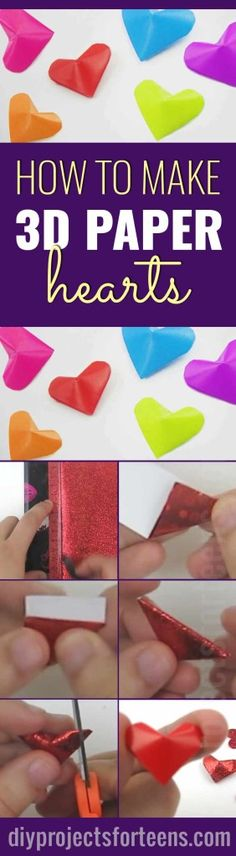 Cool Arts and Crafts Ideas for Teens, Kids and Even Adults | Cheap, Fun and Easy DIY Projects, Awesome Craft Tutorials for Teenagers | School, Home, Room Decor and Awesome Gift Ideas | 3d paper hearts| http://diyprojectsforteens.com/arts-and-crafts-ideas-for-teens