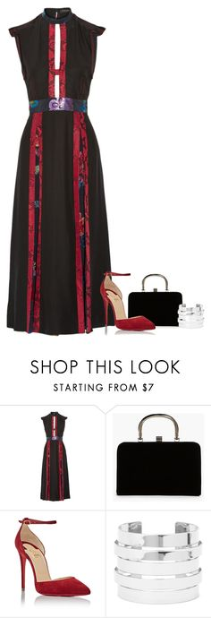 """Untitled #947"" by mrseclipse ❤ liked on Polyvore featuring Burberry, Boohoo, Christian Louboutin and Forever 21"