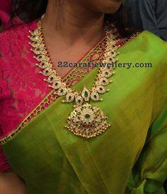 Silver Mango Mala in White Kundans Bridal Necklace, Bridal Jewelry, Necklace Set, Stone Necklace, Gold Necklace, Mango Mala Jewellery, Mango Necklace, Emerald Jewelry, Gold Jewelry