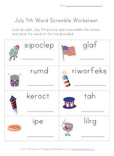 4th of July Word Scramble Worksheet