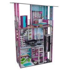 Modern Wooden Dollhouse With 14 Pieces Of Furniture Accommodates Barbie Dolls #ModernWoodenDollhouse #Modern