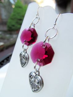 Pink Crystal and Hearts Sterling Silver Earrings by BeadedTail
