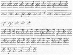 14. Skrivstilsövningar. Meningslösa upprepande bokstavsträningar där vi lärde oss skriva oläsligt