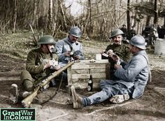 French and British troops enjoy a card game (and some Bass beer) together on the Western Front.Original image source: Nationaal Archief