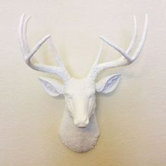 White Faux Deer Head - Fake White Deer Head Mounted