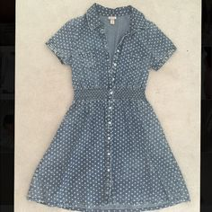 Mossimo Jean Polka Dot Dress NEVER WORN! Adorable jean colored material. White polka dots. Size Medium. Stretchy, comfortable, and perfect for spring! Mossimo Supply Co Dresses