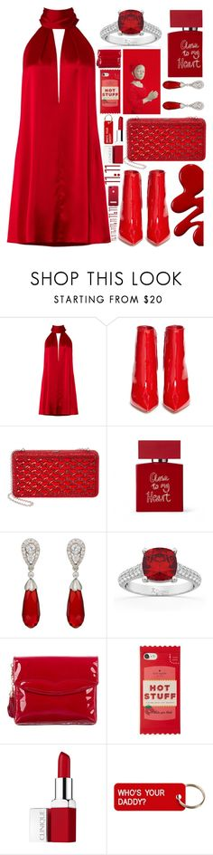 """""""Red Hot"""" by sunnydays4everkh ❤ liked on Polyvore featuring Galvan, Gianvito Rossi, Judith Leiber, Bella Freud, McTeigue & McClelland, Allurez, Z Spoke by Zac Posen, Kate Spade, Clinique and Various Projects"""