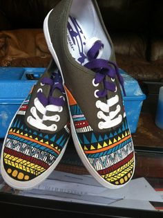 Items similar to Aztec Designed Hand Painted Ked Styled Shoes on Etsy Painted Canvas Shoes, Hand Painted Shoes, Painted Toms, Sharpie Shoes, White Tennis Shoes, Baskets, Shoe Crafts, Sneaker Art, Converse Style