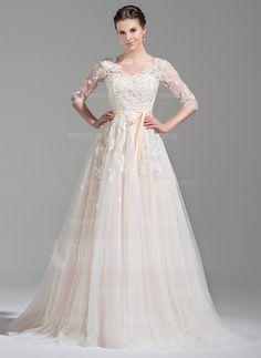 Bröllopsklänningar - $275.99 - A-linjeformat V-ringning Court släp Tyll Bröllopsklänning med Pärlbrodering Applikationer Spetsar Paljetter Rosett/-er (002071524) http://amormoda.se/A-linjeformat-V-ringning-Court-Slaep-Tyll-Broellopsklaenning-Med-Paerlbrodering-Applikationer-Spetsar-Paljetter-Rosett--er-002071524-g71524