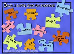 Father's Day Craft - Love You to Pieces Fathers Day Puzzle Craft from www.daniellesplace.com