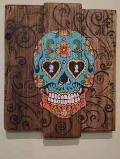 Turquoise Sugar Skull Rustic Pallet Sign by DesertMamas on Etsy