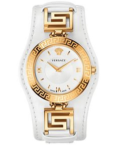 Versace Women's Swiss V-Signature White Leather Strap Watch 35mm VLA010014 - Watches - Jewelry & Watches - Macy's