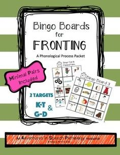 * FREEBIE * Get both Bingo Boards and Minimal Pairs for phonological process of fronting. Easy game and activities for your speech students.