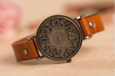 Image of Vintage Copper Solid Leather Wrist Watch, Women Watches, Leather Watch (WAT0001)