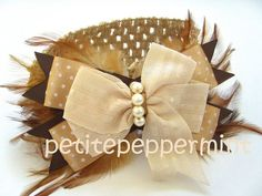 Baby Headband  Choco Brown Feather Hair Bow by PetitePeppermint, $5.95
