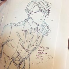 """minoru-chan: """" Doodle Victor Nikiforov Yuri On Ice. This is anime has pass Japan censorship by Junichi Suwabe  love the anime movement and storyline! Well done anime! #fanart #drawing #yurionice #victornikiforov #doodle #sketch #ユーリonice """""""