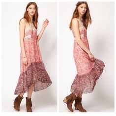 FREE PEOPLE rose floral hi-low dress Sz 10. Super pretty for the summer! Very flowy, perfect for casual wear and the beach. Free People Dresses High Low