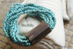 Wood and Glass hawaiian bracelet