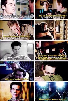 Sheriff/Papa Stilinski (Linden Ashby) and Stiles Stilinski (Dylan O'Brien)